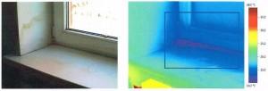 Рис. 2. Теплотехнические дефекты в узлах примыкания оконного блока к стеновому проему