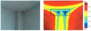 Рис. 3. Теплотехнический дефект в узле сопряжения наружной стены с железобетонной колонной