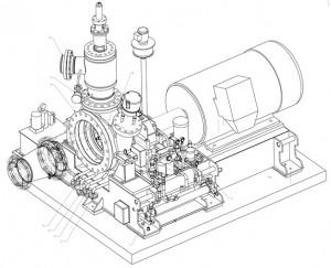 Схема подключения паровой турбины и аксонометрический чертеж турбины TR320