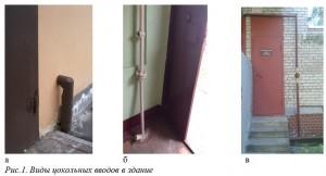 Рис.1. Виды цокольных вводов в здание