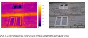 Рис. 3. Теплопроводные включения в уровне межэтажных перекрытий